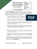 A-SG-SST PL-2 POLITICA  AMBIENTAL  ARCOMEX
