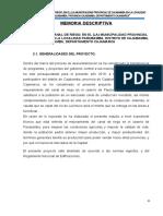 MEMORIA  DESCRIPTIVA DEL CANAL DE RIEGO DE PARUBAMBA