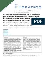 5 El costo y la percepción en la sociedad por congestión vehicular causada por el transporte público urbano en la ciudad de Ambato, Ecuador
