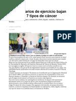 30 min diarios de ejercicio bajan riesgo de 7 tipos de cáncer