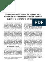 10 Reglamento del Proceso de Ingreso para Cursar los Niv Medio Sup, Tecnico Sup Universitario y Licenciatura