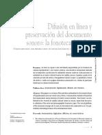 Difusión en Linea y Preservación Del Documento Sonoro
