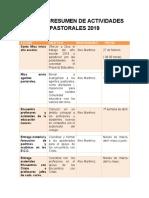ACTIVIDADES PASTORALES 2019