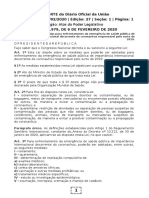 07.02.2020 DOU Lei Federal 13979 Medidas de Emergência de Saúde Pública -Coronavírus