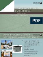 Grease Interception in the Plumbing Code