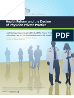 Health Reform and the Decline of Physician Private Practice