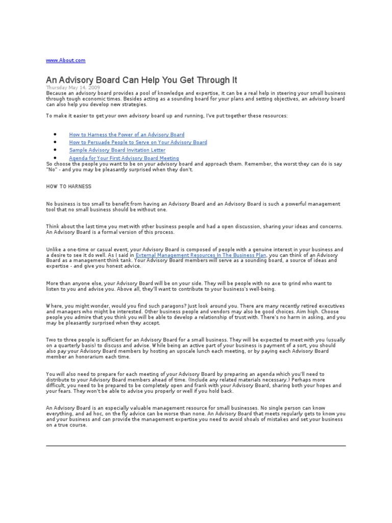 Advisory Board Research Board Of Directors Advice Opinion