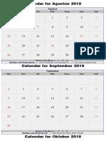 Calendar for Agustus 2018