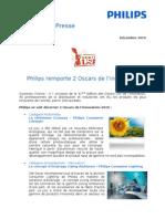Philips se voit décerner 2 Oscars de l'innovation 2010