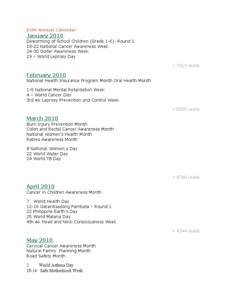 DOH Annual Calendar | Preventive Healthcare | Cancer