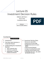 Lecture 05 Investment Decision Rules - 1 slide per page