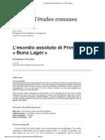 L'Esordio Assoluto Di Primo Levi «%E2%80%AFBuna Lager%E2%80%AF»