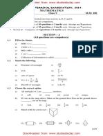CBSE Class 5 Maths Sample Paper SA2 2014