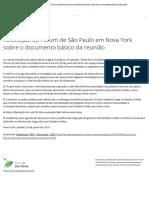 Resolução do Fórum de São Paulo Fórum de São Paulo Nova York sobre o Documento básico da Reunião