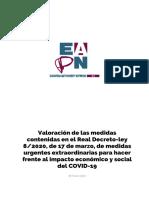 Valoración de EAPN sobre las medidas ante el COVID19 contenidas en el Real Decreto-ley 8/2020