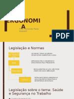 AULA LEGISLAÇÃO E REGULAMENTOS ERGONOMIA