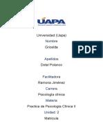 TAREA 2 DE PRACTICA DE  PSICOLOGICA CLINICA II RAMONA JIMENEZ