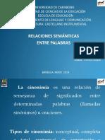 RELACIONES SEMÁNTICAS ENTRE PALABRAS