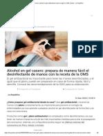 Cómo hacer alcohol en gel antibacterial casero según la OMS _ Salud - La República
