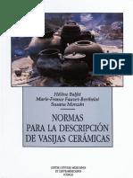 Normas Para La Descripción de Vasijas Cerámicas Helene Balfet, Marie-France Fauvet y Susana Monzón