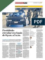 Prohibido Circular en El País de 8 p.m. a 5a.m.