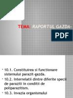 Tema nr.10 Raportul gazda parazit.