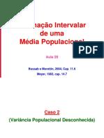 Aula 20 - Estimação Intervalar Media Populacional (Variância Desconhecida)