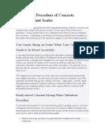 Calibration Procedure of Concrete Batching Plant Scales