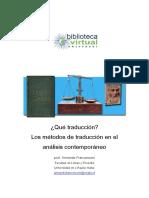 Los métodos de traducción en el análisis contemporáneo