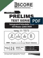 Schedule GsScore Prelims Test Series 2020