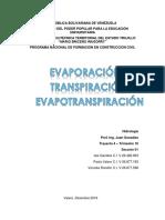 Evaporación, Transpiración y Evapotranspiración
