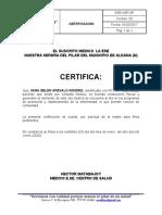 MODELO DE CERTIFICADO MEDICO