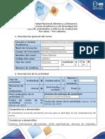 Pre tarea Pre saberes Guía de actividades y rúbrica de evaluación