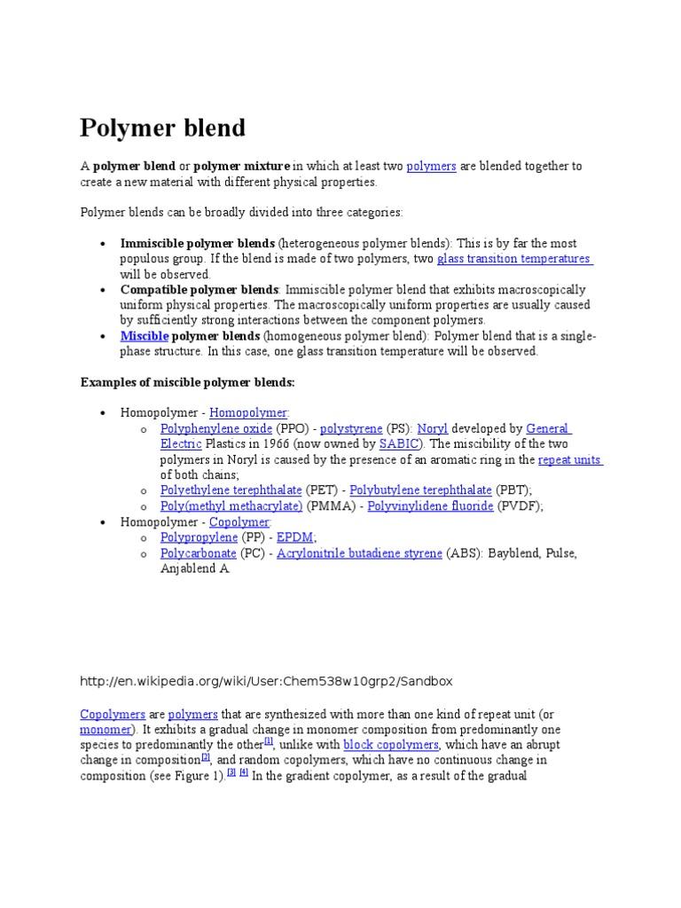 Polymer Blend   Polímeros   Ciencias físicas