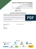 C20 2020 Suspensión Competiciones COVID 19