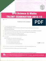 DPS Science _ Maths Talent Exam_2012-13