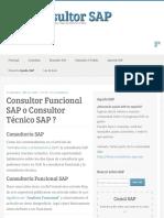 Consultor Funcional SAP o Consultor Técnico SAP ?   Ser Consultor SAP