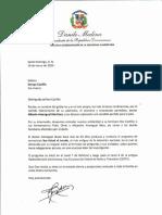 Carta de condolencias del presidente Danilo Medina a Soraya Castillo por fallecimiento de su padrastro, Alberto Amengual Martínez