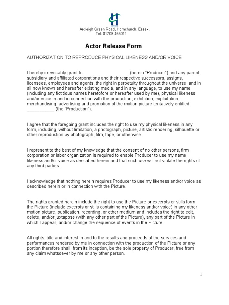Actor Release Form | Private Law | Virtue