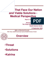 Threats That Face Our Nation and Viable Solutions - Medical Perspective
