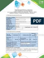Guía de actividades y rúbrica de evaluación - Paso 3 - Matriz analítica. Analizar e interpretar artículos científicos 1