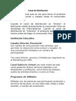 Canal de Distribución institucion educativa