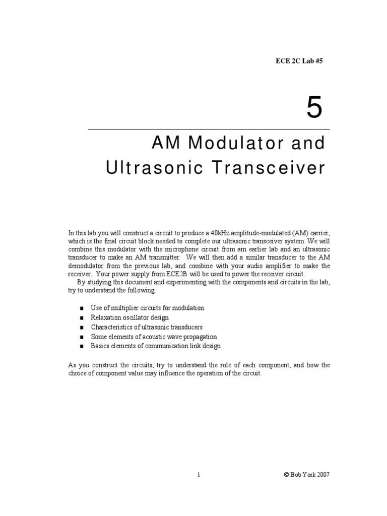 Am Modulator Project Amplifier Microphone 40khz Ultrasonic Transmitter Circuit