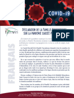 [Français] Déclaration de la Famille Vincentienne sur la pandémie causée par COVID-19