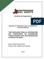 METODOLOGÍA PARA LA ESTIMACIÓN DEL COEFICIENTE DE DISPERSIÓN LONGITUDINAL EN EL RÍO MAGDALENA