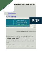 Revista de Economía del Caribe Crecimiento económico y desarrollo humano en Colombia (2000 - 2010)