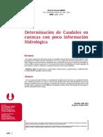 Determinacion de Caudales en Cuencas con Poca Información