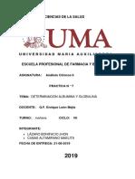 DETERMINACION ALBUMINA Y GLOBULINA analisis clinico