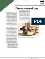 """""""Ecco a voi l'app per contenere il virus"""" - Il Resto del Carlino del 20 marzo 2020"""