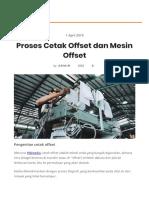 Proses Cetak Offset dan Mesin Offset